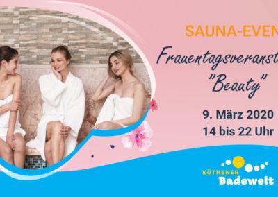 "09.03.2020 – Sauna-Event Frauentagsveranstaltung ""Beauty"""